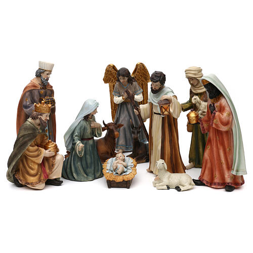 Full nativity set Orient style, in colored resin 25 cm 1