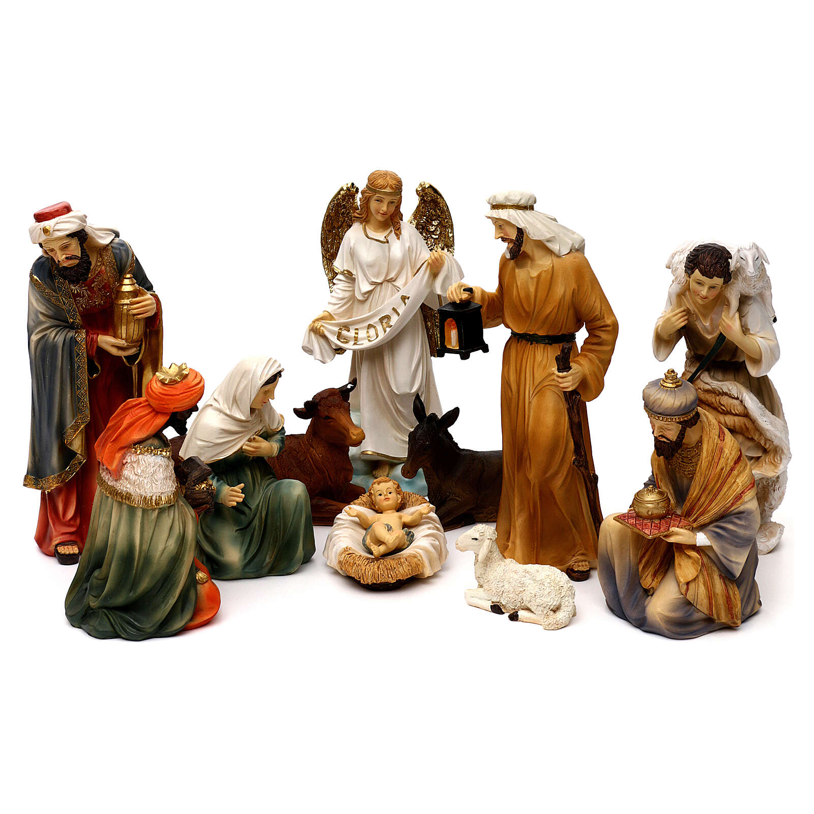 Complete nativity set Orientale style in colored resin, 24 cm 4