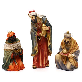 Complete nativity set Orientale style in colored resin, 24 cm s2