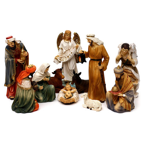 Complete nativity set Orientale style in colored resin, 24 cm 1