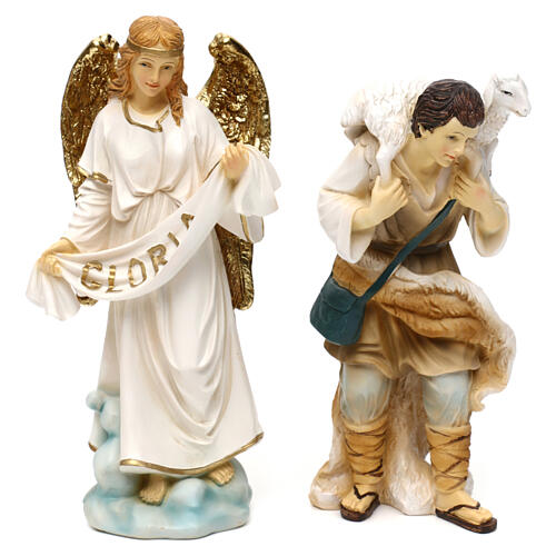 Complete nativity set Orientale style in colored resin, 24 cm 3