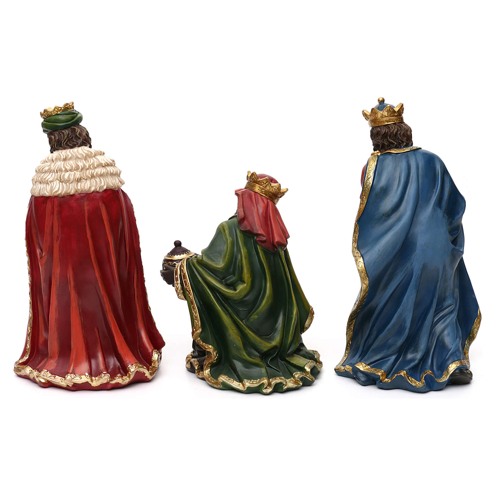 Nativity scene set in painted resin with shepherds 30 cm 4