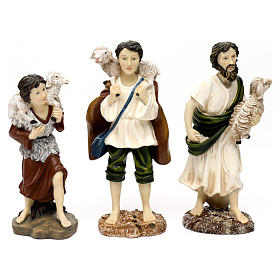 Nativity scene set in painted resin with shepherds 30 cm s4