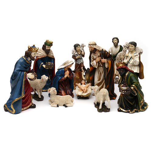 Nativity scene set in painted resin with shepherds 30 cm 1