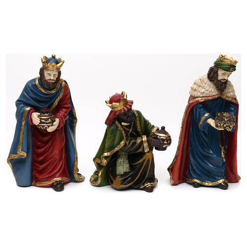 Nativity scene set in painted resin with shepherds 30 cm 3