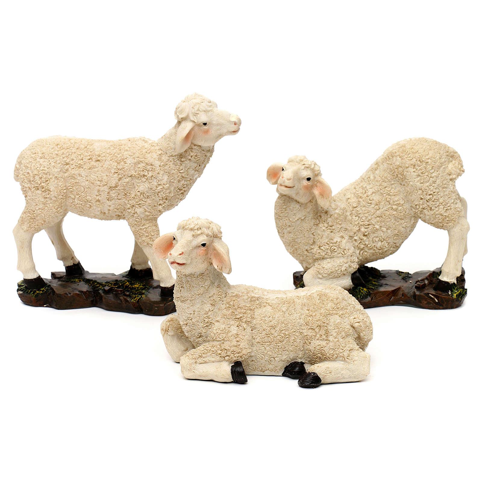 Presepe con pastori resina colorata 30 cm 4