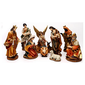 Complete Nativity set with manger, in colored resin 30 cm s1