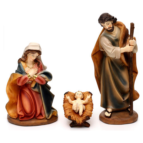 Complete Nativity set with manger, in colored resin 30 cm 2