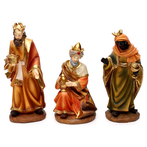 Complete Nativity set with manger, in colored resin 30 cm 3