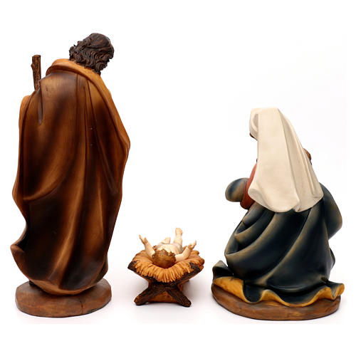 Complete Nativity set with manger, in colored resin 30 cm 6