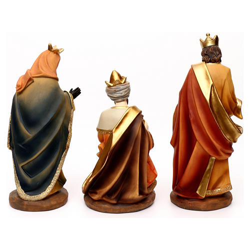 Complete Nativity set with manger, in colored resin 30 cm 7