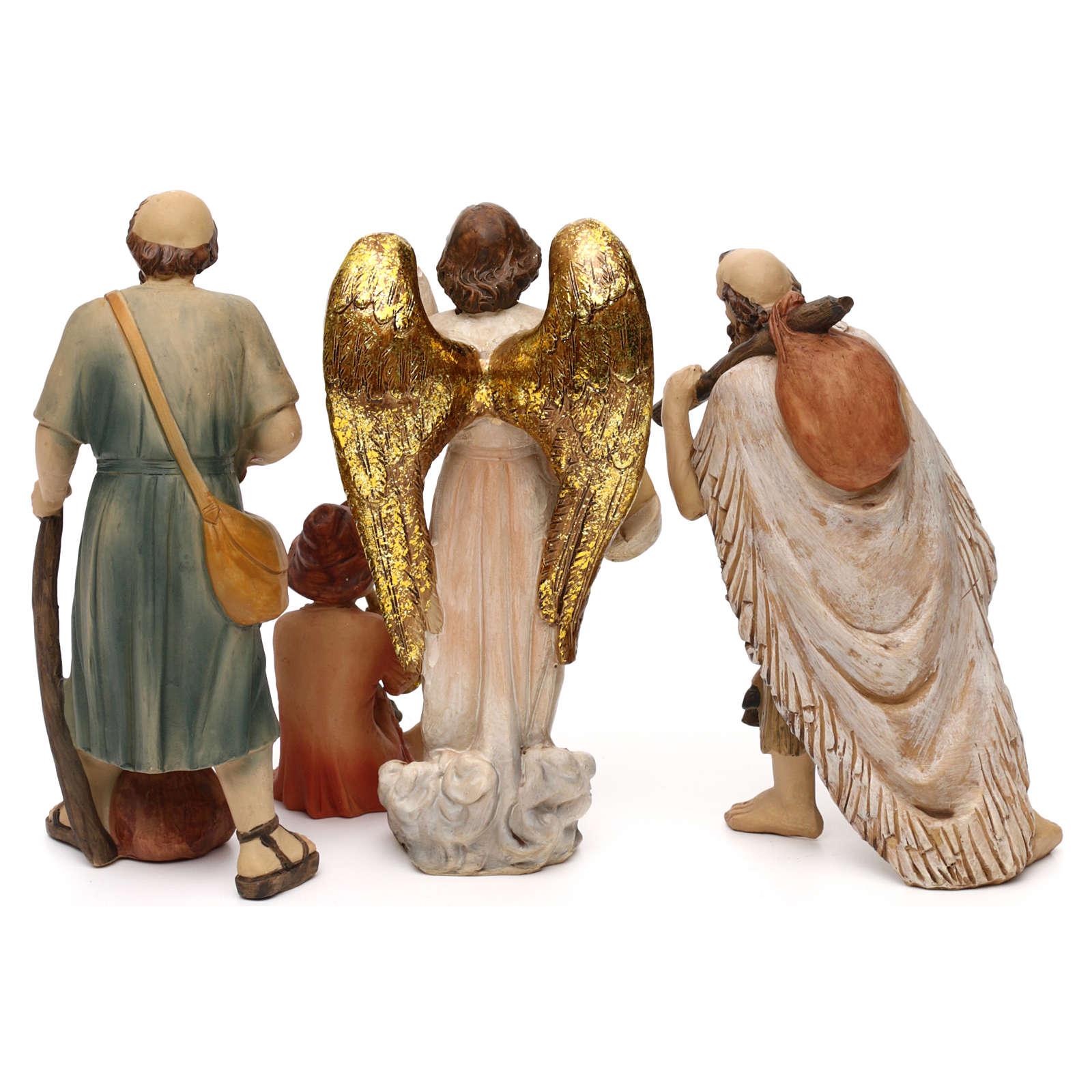 Crèche complète Nativité avec musicien résine colorée 20 cm 4