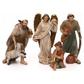 Crèche complète Nativité avec musicien résine colorée 20 cm s3