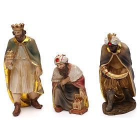 Crèche complète Nativité avec musicien résine colorée 20 cm s4