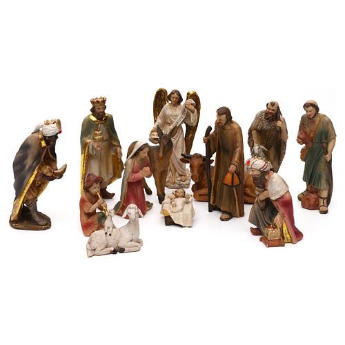 Crèche complète Nativité avec musicien résine colorée 20 cm 1