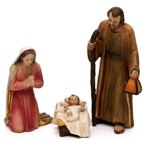 Crèche complète Nativité avec musicien résine colorée 20 cm 2