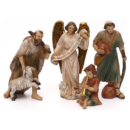 Crèche complète Nativité avec musicien résine colorée 20 cm 3