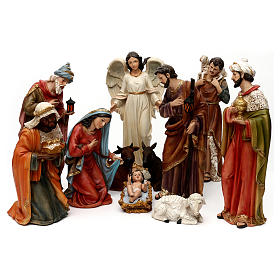 Complete Nativity set, in bright colored resin 40 cm s1