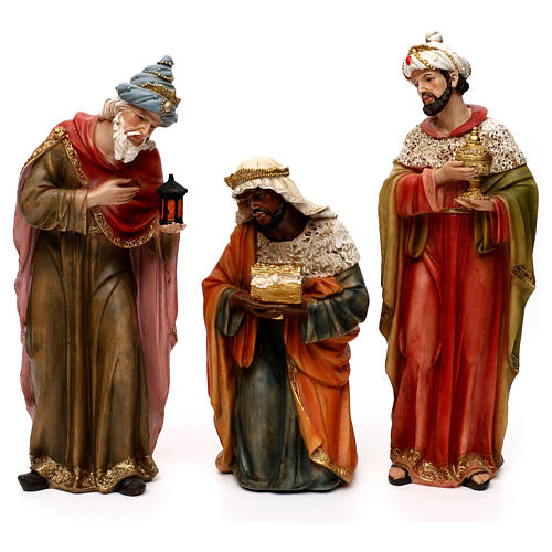 Complete Nativity set, in bright colored resin 40 cm 3
