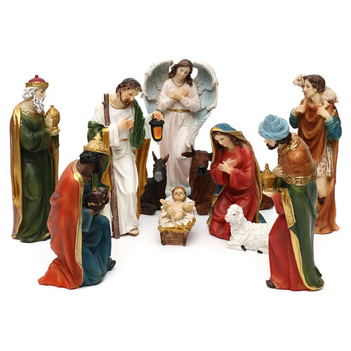 STOCK Nativity scene in resin, 11 statues 20 cm 1