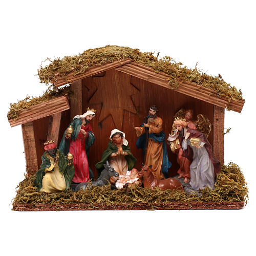 Hut with Nativity scene with 9 characters 12 cm 1
