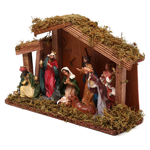 Hut with Nativity scene with 9 characters 12 cm 2