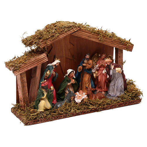Hut with Nativity scene with 9 characters 12 cm 3