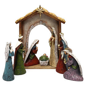 Nativity Scene 7 characters with hut 16 cm s1