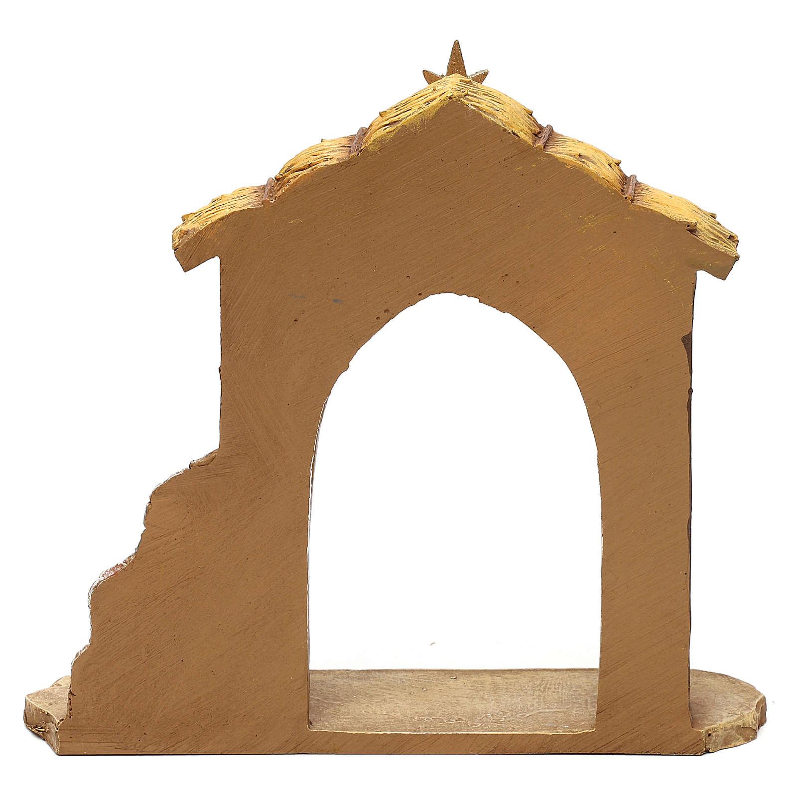 Crèche 7 santons avec cabane 16 cm 4