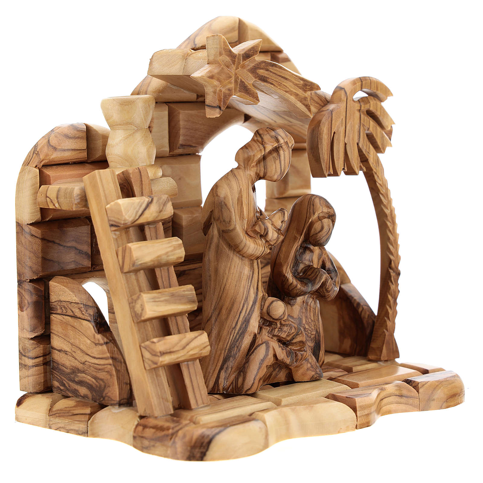 Bethlehem house in olive wood with complete stylized Nativity scene of 15x15x10 cm 4