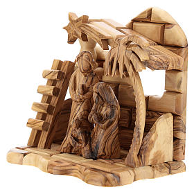 Bethlehem house in olive wood with complete stylized Nativity scene of 15x15x10 cm s2