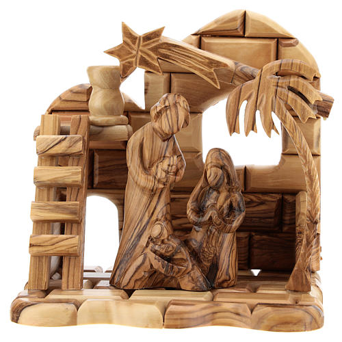 Bethlehem house in olive wood with complete stylized Nativity scene of 15x15x10 cm 1