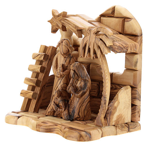 Bethlehem house in olive wood with complete stylized Nativity scene of 15x15x10 cm 2