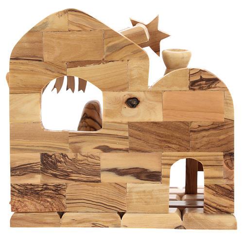 Maisonnette en olivier Bethléem avec crèche complète stylisée 15x15x10 cm  4