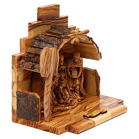Nativity scene with cave in Bethlehem olive wood 15x15x10 cm s4