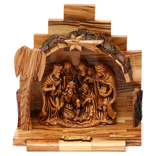 Nativity scene with cave in Bethlehem olive wood 15x15x10 cm 1
