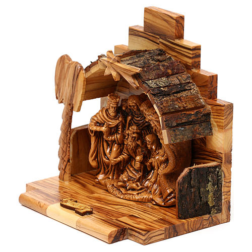 Nativity scene with cave in Bethlehem olive wood 15x15x10 cm 3
