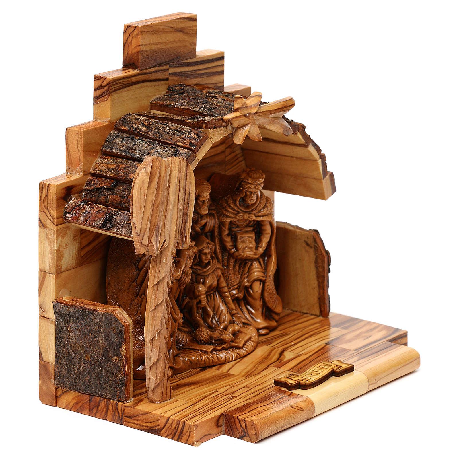 Nativity scene in plaster with stable in Bethlehem olive wood 15x15x10 cm 4