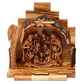 Nativity scene in plaster with stable in Bethlehem olive wood 15x15x10 cm s1