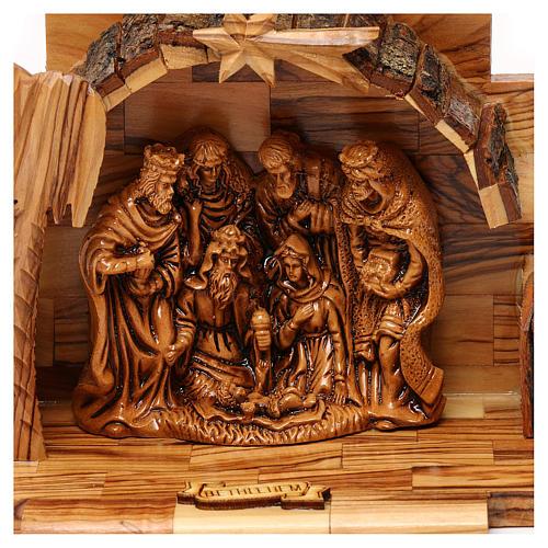 Nativity scene in plaster with stable in Bethlehem olive wood 15x15x10 cm 2