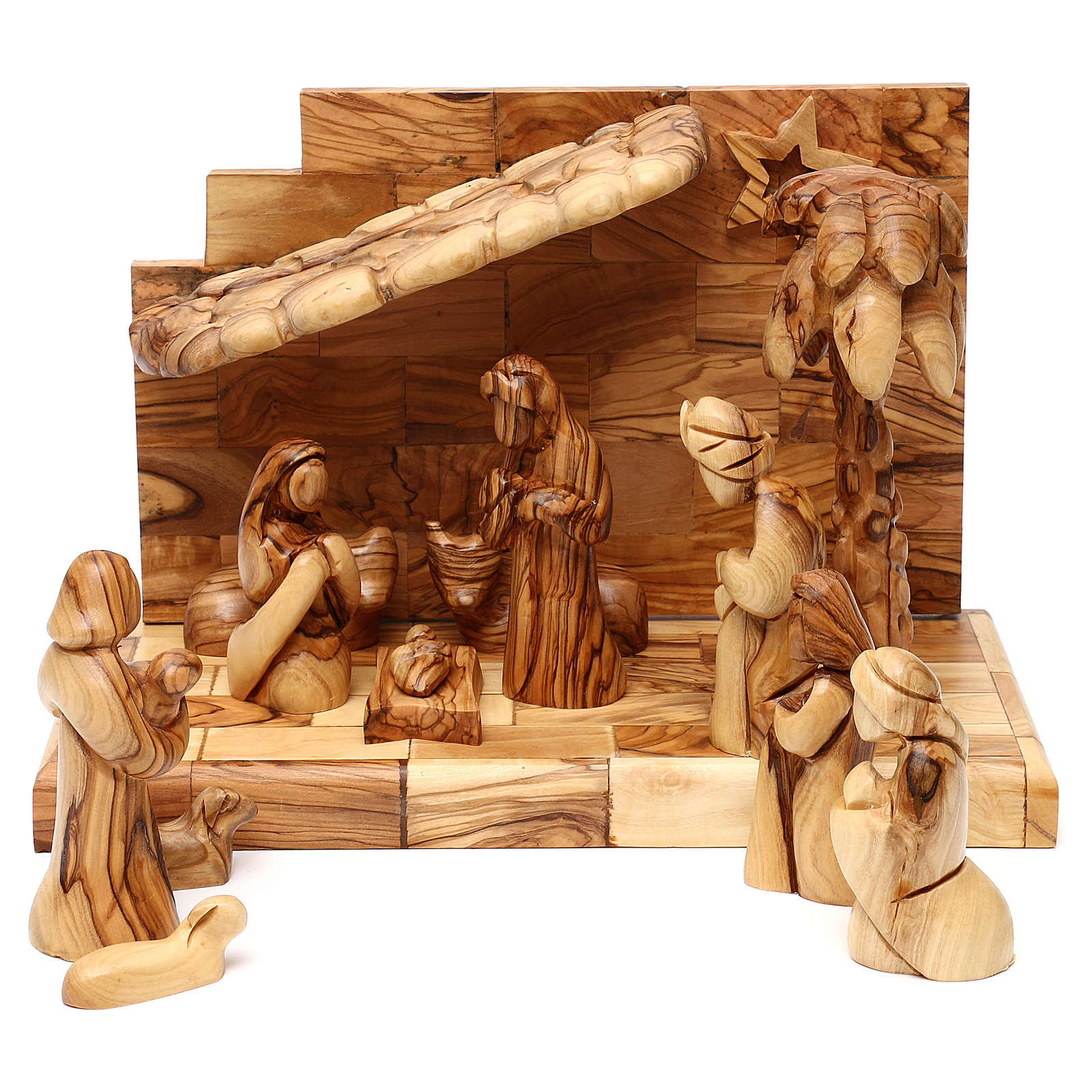 Nativity scene with cave in Bethlehem olive wood, star and palm tree 20x30x15 cm 4