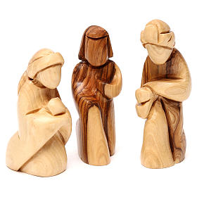 Nativity scene with cave in Bethlehem olive wood, star and palm tree 20x30x15 cm s4