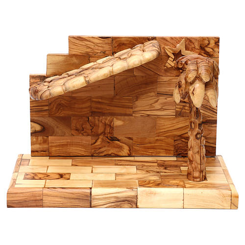 Nativity scene with cave in Bethlehem olive wood, star and palm tree 20x30x15 cm 2
