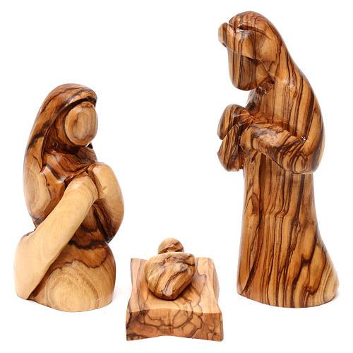 Capanna con presepe in ulivo di Betlemme con cometa e palma 15 cm 3