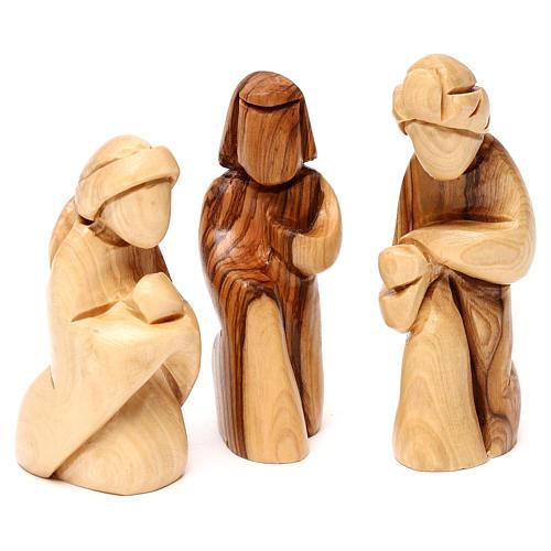 Capanna con presepe in ulivo di Betlemme con cometa e palma 15 cm 4