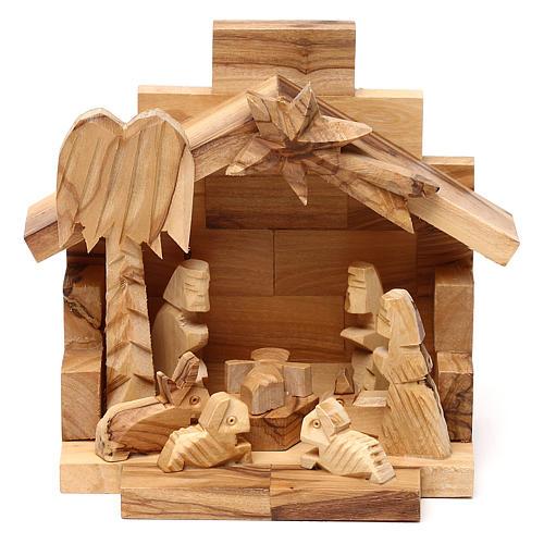 Cabaña de madera olivo de Belén con Natividad 10x15x10 cm 1