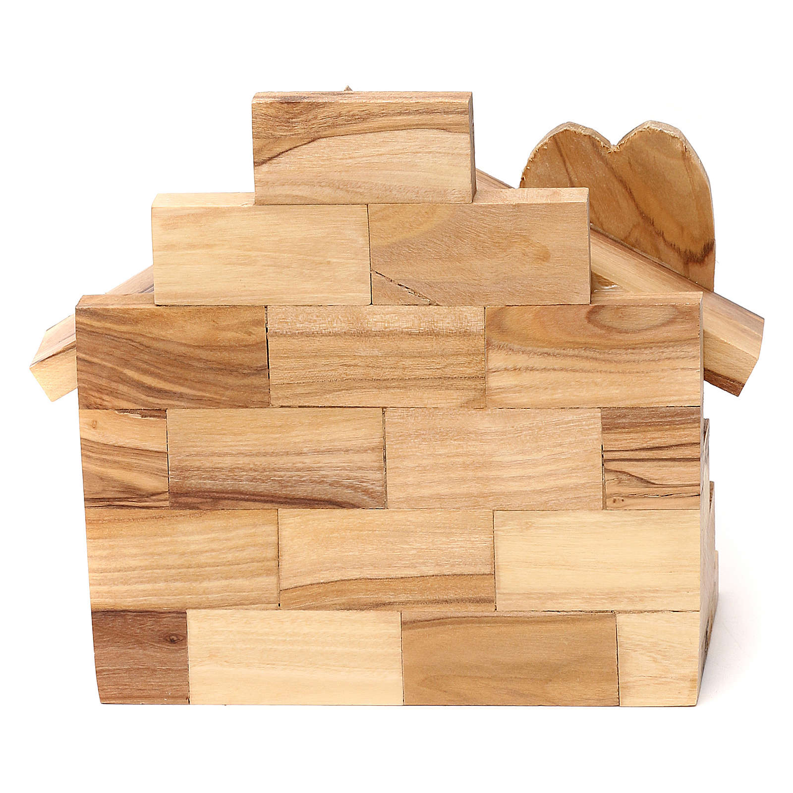 Capanna in legno ulivo di Betlemme con Natività 10x15x10 cm 4