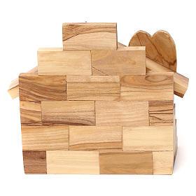 Capanna in legno ulivo di Betlemme con Natività 10x15x10 cm s4