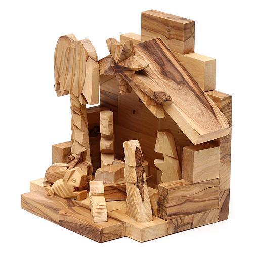 Capanna in legno ulivo di Betlemme con Natività 10x15x10 cm 2