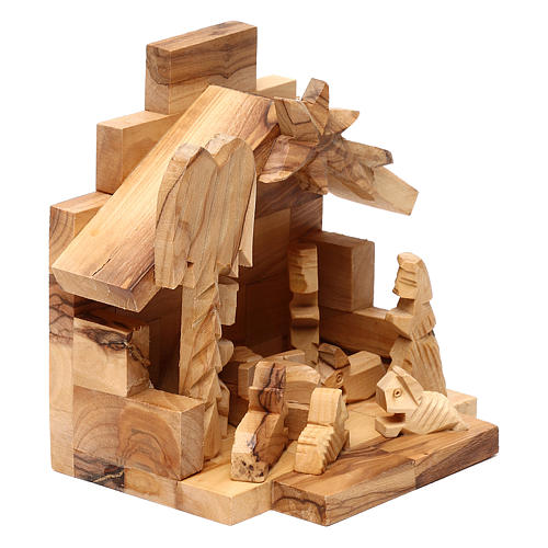 Capanna in legno ulivo di Betlemme con Natività 10x15x10 cm 3